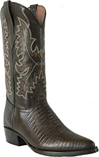 Men's New Leather Exotic Lizard Design Cowboy Western Boots J Toe Brown