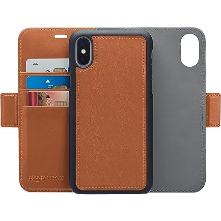 AmazonBasic iPhone X 保護殼 可拆卸自由的人造皮革錢包一體型保護殼 棕色
