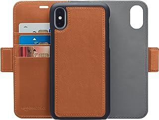 Amazon Basics Étui portefeuille avec coque amovible en similicuir 8, Marron