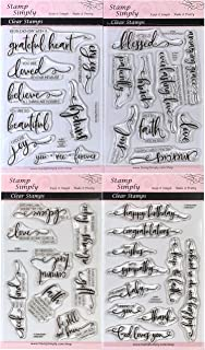 Stamp Simply Clear Stamps Scripture Sentiments Farmhouse Words of Encouragement Christian Religious (4-Pack) 4x6 Inch Sheets - 35 Pieces
