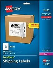 Avery Shipping Address Labels, Laser & Inkjet Printers, 10 Labels, Full Sheet Labels, Permanent Adhesive, TrueBlock (15265)