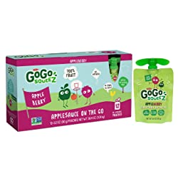 GoGo squeeZ Applesauce on the Go, Apple Berry, 3.2 Ounce (12 Pouches), Gluten Free, Vegan Friendly,