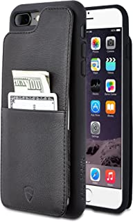 Vaultskin iPhone 7/8 Plus Wallet Case, Eton Armour for iPhone 7/8 Plus (5.5) Slim Minimalist Bumper Case for Cards and Cash, Genuine Leather - Holds up to 10 Cards (iPhone 7/8 Plus, Black)