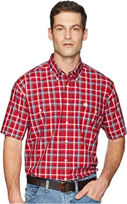 Short Sleeve Plain Weave Plaid Double Pocket
