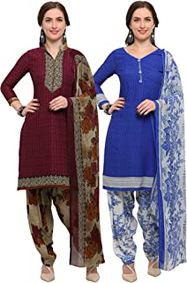 Rajnandini Women's Wine And Blue Crepe Printed Unstitched Salwar Suit Material (Combo Of 2) (Free Size)