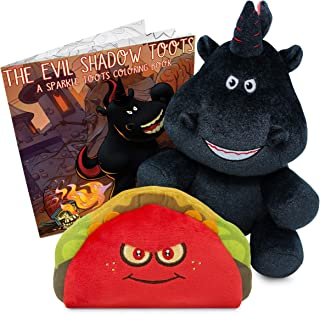 Sparkle Toots The Evil Tooting Unicorn Box Set - Includes Talking Shadow Toots Unicorn Plush, Exclusive Talking Taco Plush & Coloring Book - Unique Gag Gift, Funny for All Ages