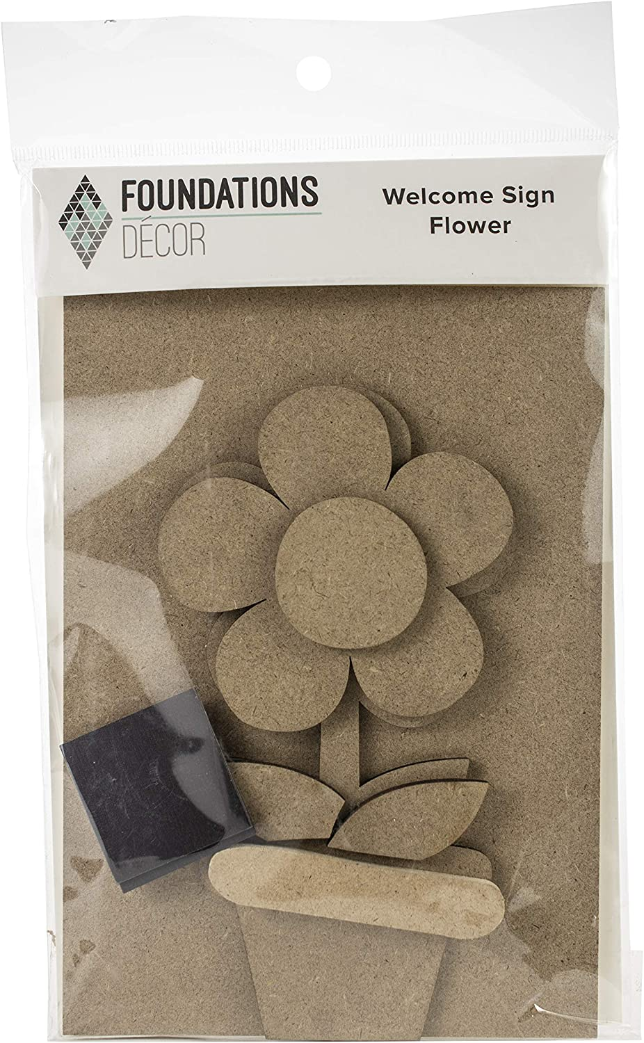 Foundations Décor, Welcome Sign Self Adhesive Magnets, DIY Home Decorations, Craft Kit - Flower