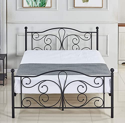 wholesale Queen Size Bed Frame with Headboard and Foodboard sale Queen Bed lowest Platform Metal Foundation (Queen DS09) outlet online sale