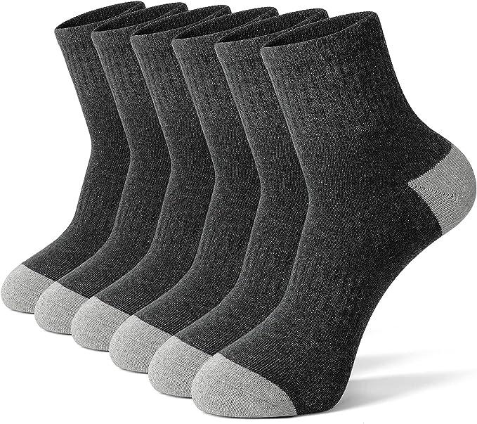 GLENMEARL 6 Pack Men's Athletic Ankle Socks Women Cushioned Sport Running Socks Black White Gray Size Small Medium Large