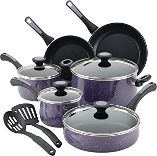 Paula Deen Riverbend Nonstick Cookware Pots and Pans Set, 12 Piece, Lavender Speckle