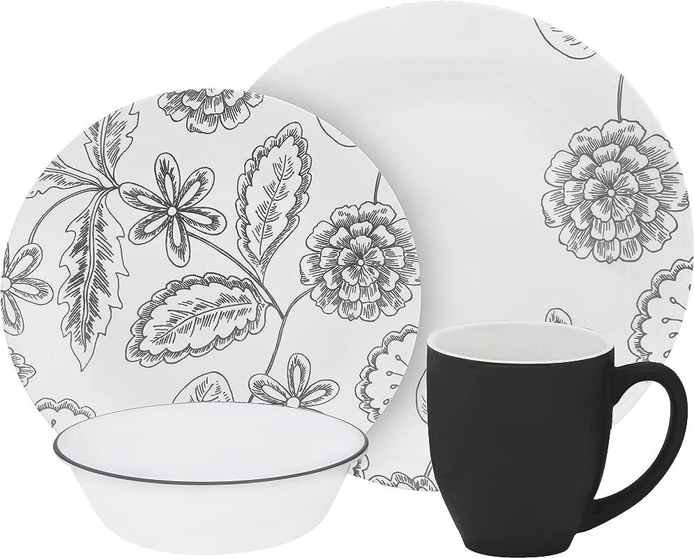 Corelle Vive 16 Piece Glass Reminisce Dinnerware Set White