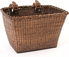 Retrospec Bicycles Cane Woven Rectangular Toto Basket with Authentic Leather Straps and..