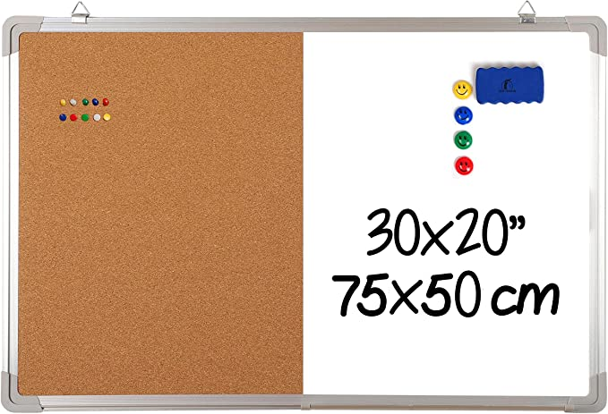 1004 opinioni per Kit Lavagna Magnetica Combinata – 75x50cm Lavagnetta Bianca Cancellabile con