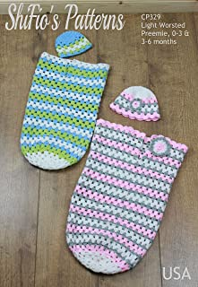 Crochet Pattern for Baby Cocoon and Hat, 3 Sizes, Granny Stitch, Premature, Preemie, 0-3mths and 3-6mths, Boy's, Girl's, Light Worsted CP329