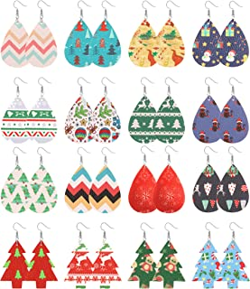 LOLIAS 16 Pairs Petal Leather Earrings Christmas Faux Leather Teardrop Earrings Lightweight Leaf Drop Earrings Xmas Gift f...