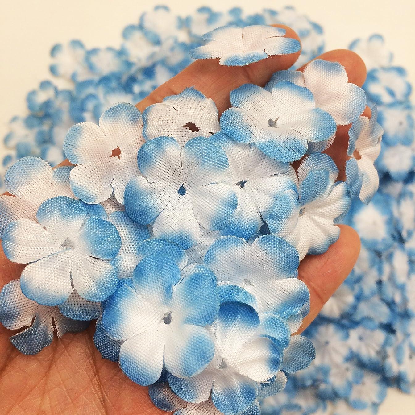 PEPPERLONELY Brand Blue Fabric Flower 5 Petals, 1 OZ Approx.750~800PC Flower Petals, 25mm (1Inch)