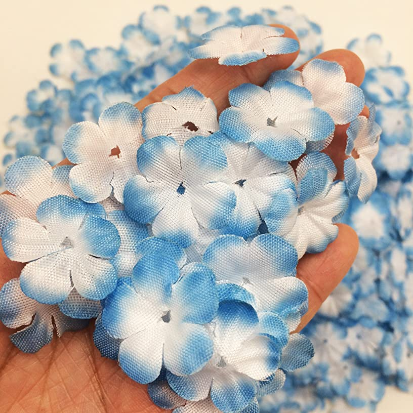 PEPPERLONELY Brand Blue Fabric Flower 5 Petals, 1 OZ Approx.750~800PC Flower Petals, 25mm (1Inch)