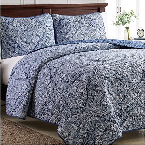 Mellanni Bedspread Coverlet Set Medallion Blue Comforter Bedding Cover Oversized 3 Piece Quilt Set Full Queen Medallion Blue