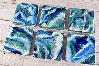 Posavasos de bebidas azul verde - Arte de resina Placemats