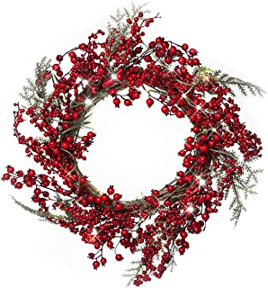22 Inch Light-Up Christmas Wreath with Red Cranberries, Plug-in Operated LED Lights