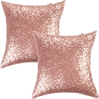 "Best Kevin Textile Sequins Decorative Luxurious Home Party Square Pillow Case Cushion Cover, 18""x18"", Hidden Zipper Design, 2 Cover Packs(Rosegold) Review"