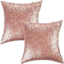 """Kevin Textile Sequins Decorative Luxurious Home Party Square Pillow Case Cushion Cover, 18""""x18"""", Hidden Zipper Design, 2 C..."""