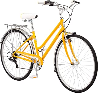 Schwinn Wayfarer Hybrid Bicycle, Featuring Retro-Styled 16-Inch/Small Step-Through and 18-Inch/Medium Step-Over Steel Frames with 7-Speed Drivetrain, Front and Rear Fenders, Rear Rack, and 700C Wheels