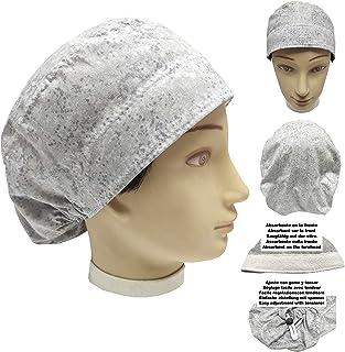 Cappello sala operatoria Donna GRIGIO ACQUE per Capelli Lunghi Asciugamano assorbente sulla fronte facilmente regolabile m...