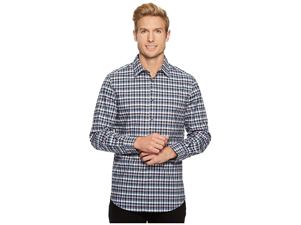 Perry Ellis Checker Plaid Shirt (Coastal Fjord) Men
