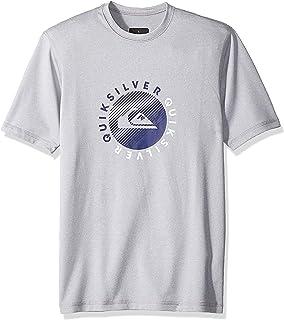 Quiksilver Boys Razors Short Sleeve Youth Light Grey Heather Surfing Rashguard Size