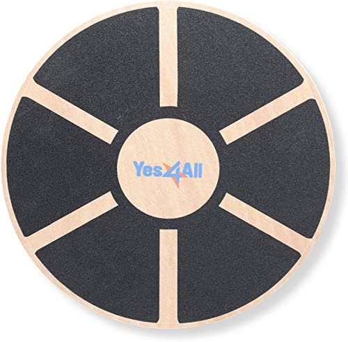 Yes4All Wooden Wobble Balance Board - Round Balance Board, Stability Board for Physical Therapy, Home Gyms
