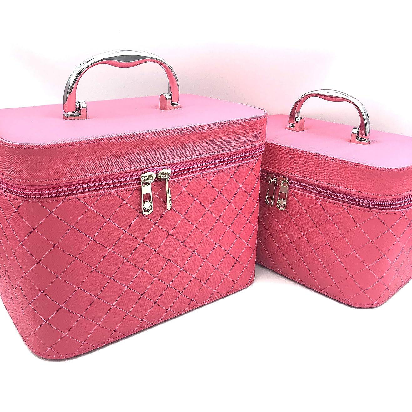 ささやき嵐のすばらしいです【EMPORITY TAG】 バニティBag キルティング地 メイク ミラー 小物 化粧品 ブラシホルダー付き 同色 2点セット (ピンク)