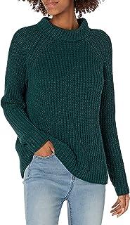 Goodthreads Women's Cotton Half-Cardigan Stitch Mock Neck Sweater