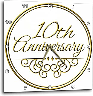 3dRose dpp_154452_1 10Th Anniversary Gift Gold Text For Celebrating Wedding Anniversaries 10 Tenth Ten Years Together Wall...