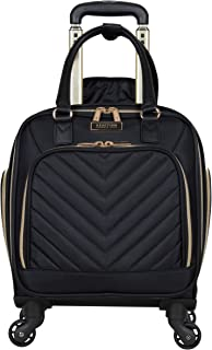 """Kenneth Cole Reaction Women Chelsea Collection 17 """"Chevron Quilted Softside 4-چرخ Spinner Underseater چمدان حمل ، سیاه"""