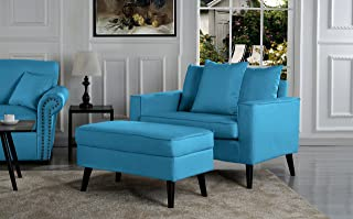 Overstock Mid-Century Living Room Large Accent Chair Storage Footrest Sky Blue