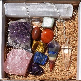 Seven Chakra Balancing Bohemian Healing Energy Gift Kit - 7 Tumbled Stone sets, Rough Amethyst Clusters, Clear Crystal Qua...