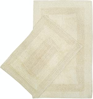 Cotton Bath Mat Set- 2 Piece 21x34/17x24-100% Cotton Reversible Soft Absorbent and Machine Washable Bathroom Rugs - Lemon Yellow