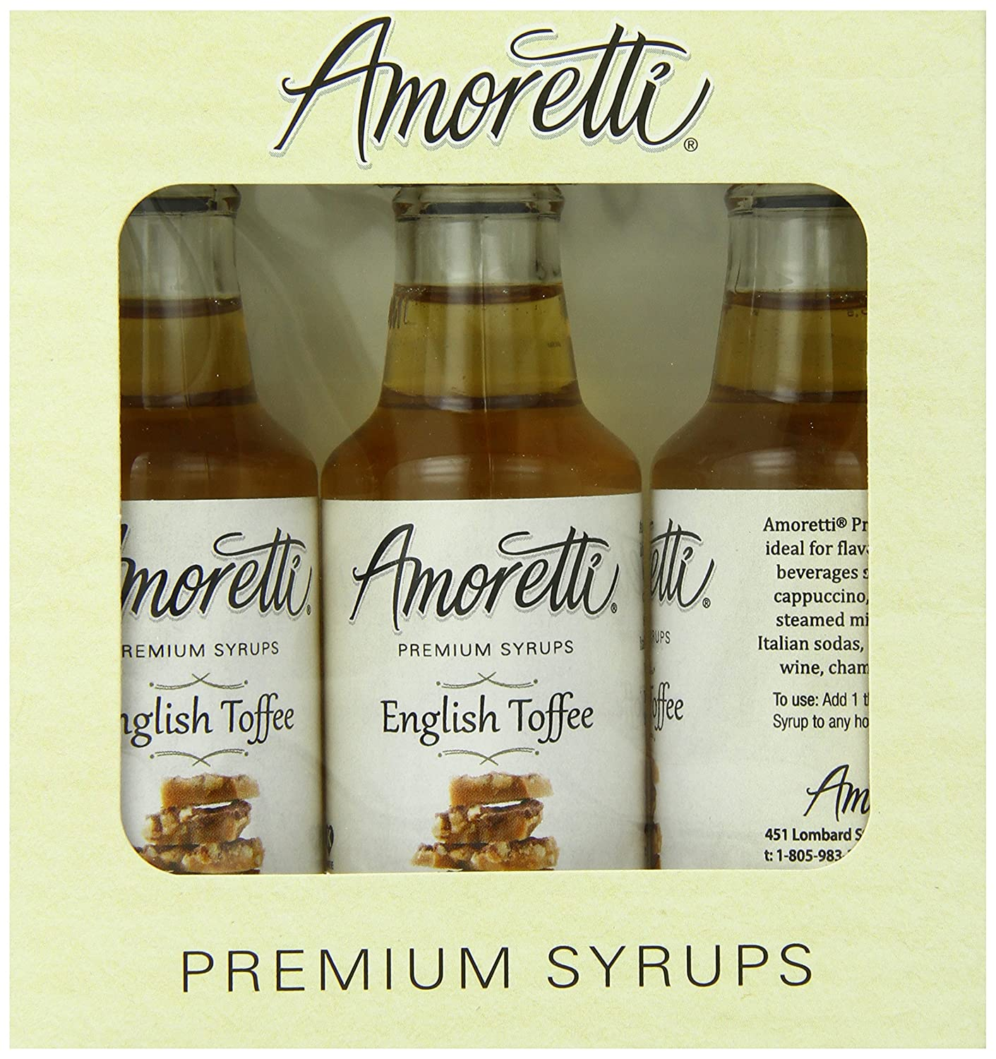 Amoretti Premium English Superior Toffee 3 Syrups 70% OFF Outlet Pack 50ml