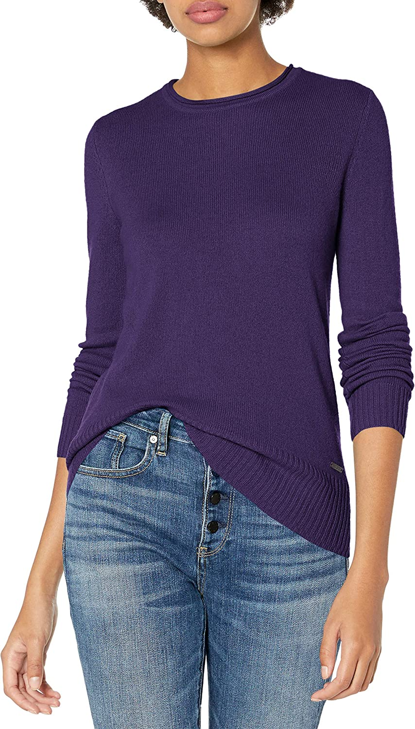 AX Armani Exchange Women's Long Sleeve Solid Crew Neck Pullover