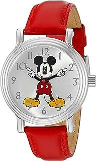 Disney Women's 'Mickey Mouse' Quartz Metal Watch, Color:Red (Model: W002758)