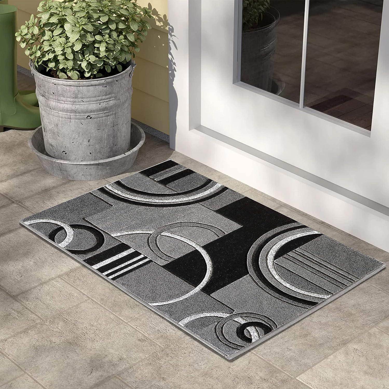GLORY RUGS Area Rug 2x3 Door Soft Geometric Manufacturer regenerated Max 54% OFF product Floor Carpe Mat Grey
