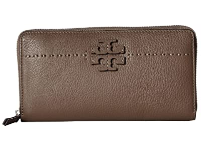 Tory Burch McGraw Zip Continental Wallet (Silver Maple) Bill-fold Wallet