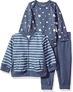 Hanes Ultimate Baby Baby-Boys BFK1J3 Flexy Jogger with Long Sleeve Bodysuit and Fleece Jacket Layette Set - Multi