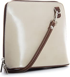 LiaTalia - Piccola borsa crossbody in morbida vera pelle - ABBY - (z** - Crema - Marrone)