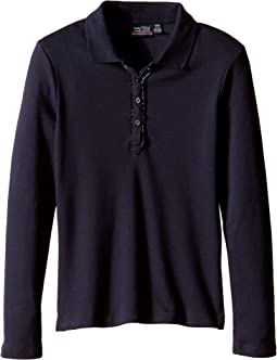 Nautica Kids Long Sleeve Polo with Ruffle Placket (Little Kids)