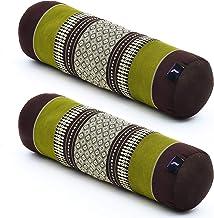 Leewadee Yoga Bolster Set - 2 Vormvaste Nek Rollen, Buiskussens voor Comfortabel Lezen, Gemaakt van Kapok, 55 x 15 x 15 c...