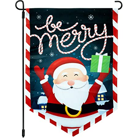 AVOIN Merry Christmas Watercolor Buffalo Check Plaid Santa Claus Garden Flag Vertical Double Sized Winter Holiday Party Yard Outdoor Decoration 12.5 x 18 Inch