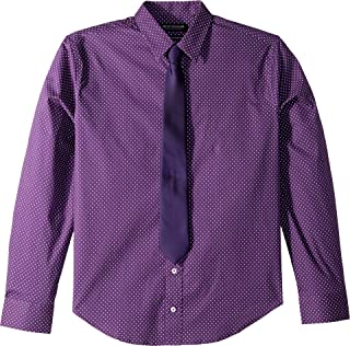 Mens Dot Print Cotton Stretch Dress Shirt & Tie Set