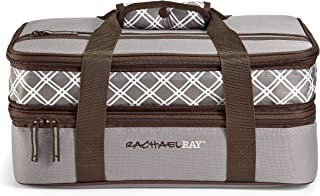 "Rachael Ray Expandable Lasagna Lugger, 16.5"" X 10.5"" X 6.8"", Sea Salt Plaid"